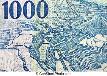 Close-up shot of 1000 peso