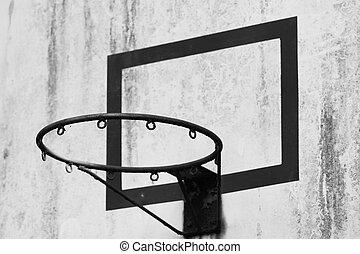 Close-up shot of a basketball hoop