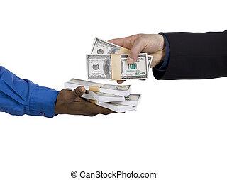 Close-up shot of a businessman lending money. Model: WInter Bourne
