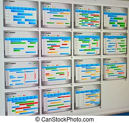 Close up shot of a detailed Gantt Chart that illustrates a ...