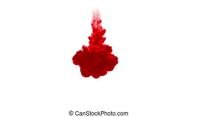 Close-up shot of a drop ink in liquid. Red colour drop in...