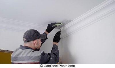 Close up shot of a experienced worker painting celling...