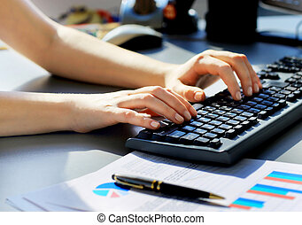 typing on the keyboard