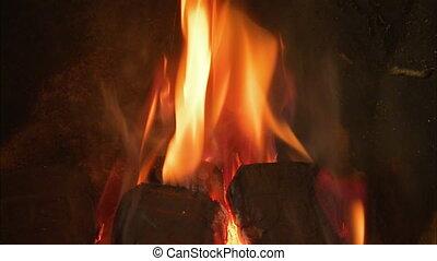 Close up shot of a indoor fire - Close up shot of an indoor...