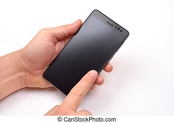 Close up shot of a man holding a modern smartphone and pointing with finger. Blank screen