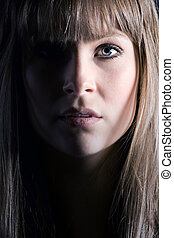 Pretty Brunette with Fringe - Close Up Shot of a Pretty...