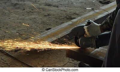 Close up shot of a professional builder grinding on a big...