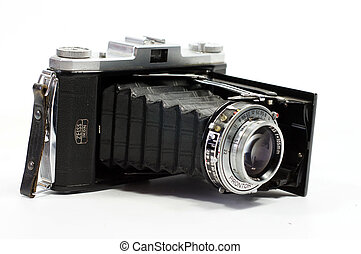 Close up shot of a vintage camera - The front view of German...
