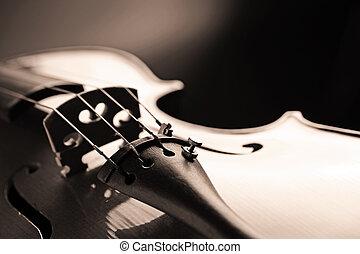 violin - close up shot of a violin, shallow deep of field