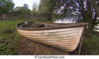 Close up shot of an old row boat