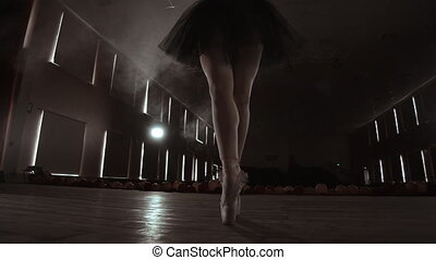 Close-up Shot of Ballerina's Legs. She Dances on Her Pointe...