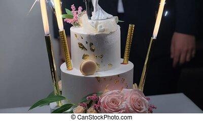 Beautiful newlyweds cake. - Close-up shot of Beautiful ...