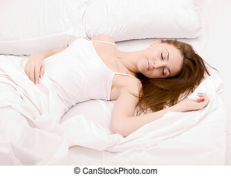 sleeping woman - close up shot of beautiful sleeping woman