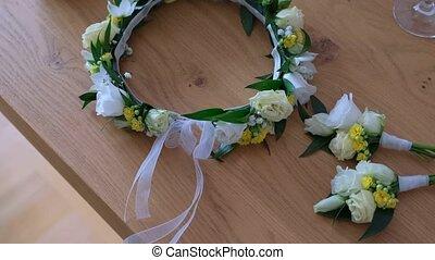Beautiful wedding wreath with fresh flowers. - Close-up shot...