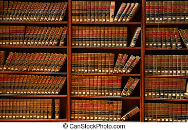 Law book library - Close up shot of books in Law book...