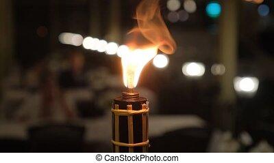 Close-up shot of Burning kerosene torch. Open fire.