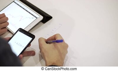 Close up shot of businessmen work on a tablet with diagrams