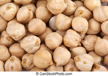 Macro shot of piles of chickpeas.