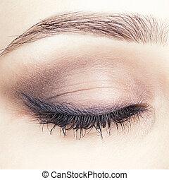 close-up shot of closed female eye