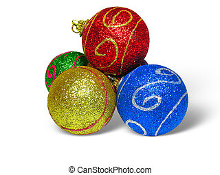 Close up shot of color Christmas balls on white background