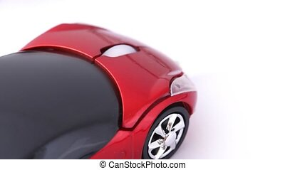 close-up shot of computer mouse in form of sport car