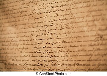 Declaration of Independence - Close-up shot of Declaration ...
