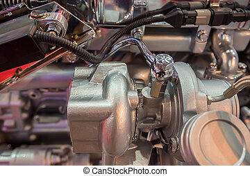 Close-up shot of diesel truck engine