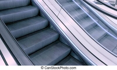 Modern escalator stairs - Close-up shot of empty moving...
