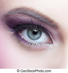 Close-up shot of female eye make-up