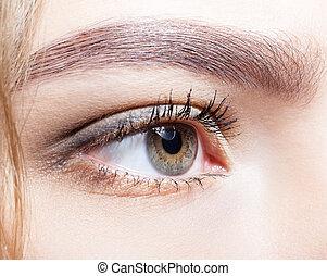 Close-up shot of female eye makeup.