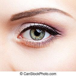Close-up shot of female eye