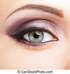 Close-up shot of female eye makeup