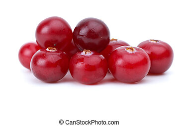 Close-up shot of few cranberries isolated on the white...