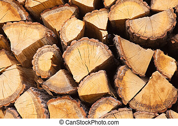 Close up shot of firewood stacked together