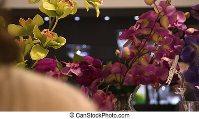 Close up shot of flowers in a store