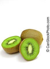 kiwi fruit - close up shot of fresh kiwi fruit on white...