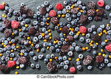 Close up shot of frozen mixed berries