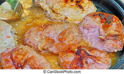 Close up shot of grilling meat 4k