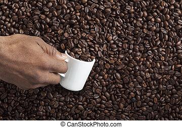 close up shot of human hand filling beans in mug