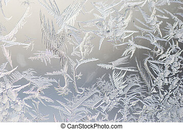 ice crystals - close up shot of ice crystals on a window