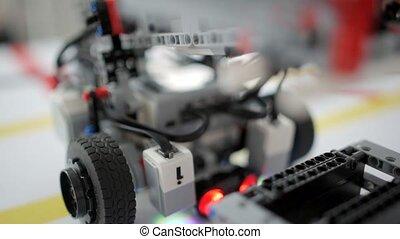 Close up shot of illuminating constructed vehicle