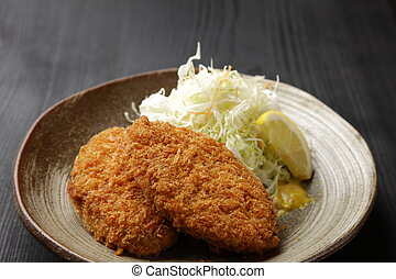 Japanese style croquette - close up shot of Japanese style ...