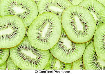Close up shot of Kiwi slices.