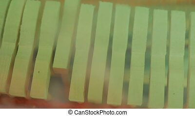Close up shot of piano hammers playing keys, inside of piano