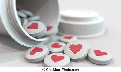 Close-up shot of pills with stamped heart symbol on them. 3D animation