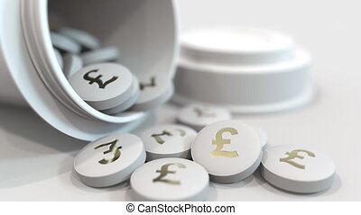 Close-up shot of pills with stamped pound sterling GBP...
