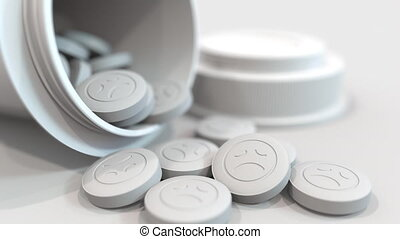 Close-up shot of pills with stamped sad smiley on them. 3D...
