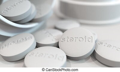 Close-up shot of pills with stamped STEROID text on them. 3D animation