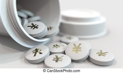 Close-up shot of pills with stamped yen symbol on them....