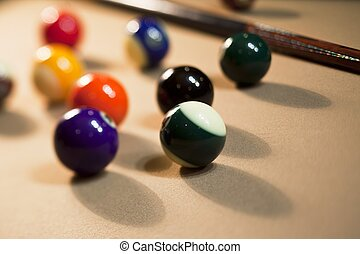 close up shot of pool balls on pool table